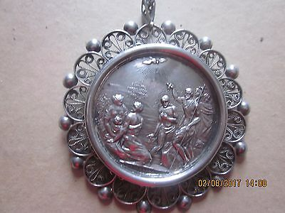 Antique silver devotional medal The Baptism of Christ by Heuberger Austria c1820