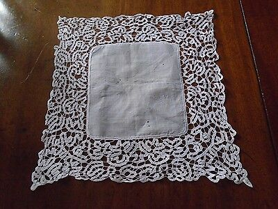Nice tape lace antique handkerchief