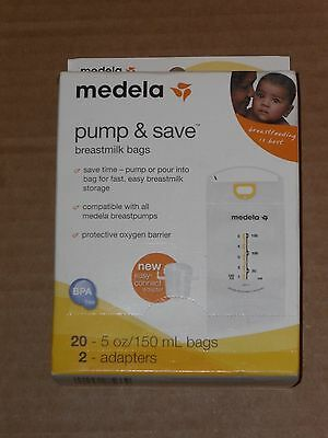 Medela Pump and Save Breastmilk Bags 20 Count New