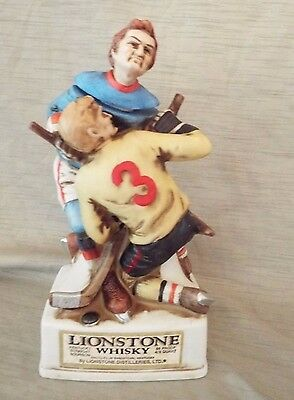 1974 Lionstone Decanter - Hockey Players - Full Size Porcelain - Free Shipping!