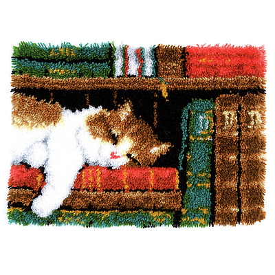 Vervaco - Latch Hook Rug Kit - Cat on Bookshelf - PN-0149896