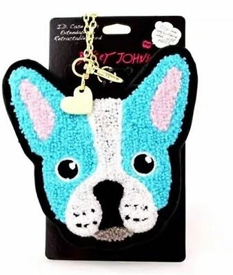 Boston terrier French bulldog Betsey Johnson ID Case retractable cord Blue Dog