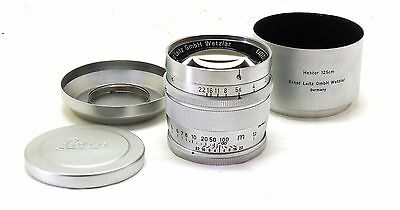 Leica 12.5cm 125mm f/2.5 Hektor lens with hood and caps EXC++