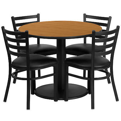 36'' Round Natural Laminate Table Set with 4 Ladder Back Metal Chairs
