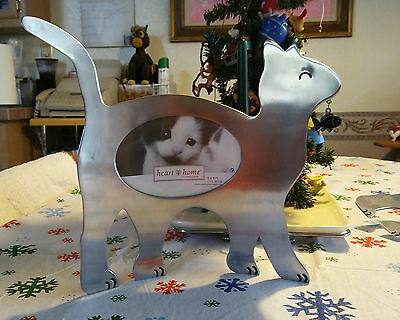 Metal Cat Picture Frame Heart Home