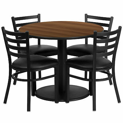 36'' Round Walnut Laminate Table Set with 4 Ladder Back Metal Chairs