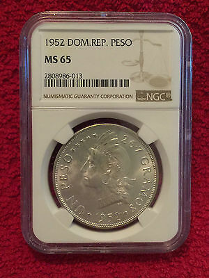 DOMINICAN REPUBLIC 1952 1 Peso Silver Crown NGC MS 65 - VERY RARE