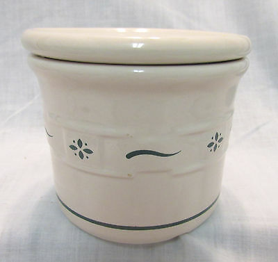 Longaberger Pottery 1 Pint Crock With Lid, Woven Traditions Green