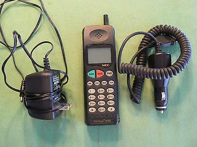 Vintage NEC Talk Time Max Cell Phone With Wall & Car Chargers - Working