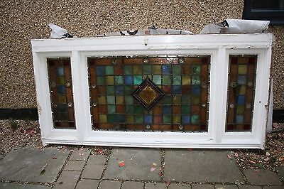 Antique Victorian Stained Glass Over Door Fanlight With Rondels