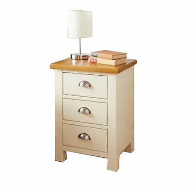 Elegant Cream Solid Wooden 3 Drawer Bed Side Table Cabinet Chest Lamp