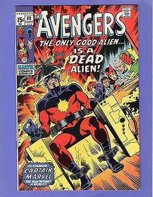 Avengers #89 -- Classic Capt. Marvel cover -- Beautiful High Grade NM-!