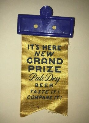 Grand Prize Pale Dry Beer Name Badge Ribbon Gulf Brewing Houston Texas