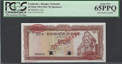 Cambodia 10 Riels ND(1962-75) P11bs Specimen Uncirculated