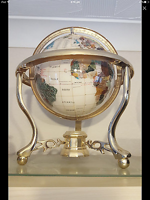 Gold mother of pearl globe 16 inches high globe is 12 inches in good condition h