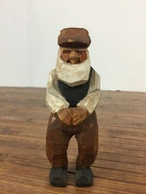 VINTAGE HAND CARVED Norwegian? Folk Art Carving old man - signed