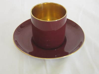 Crown Devon Fieldings Tea Cup No Handles Saucer Maroon Gold Demitasse England