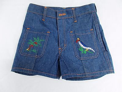 1960's  Vintage european  New  tropical  Embroidered denim Jeans Germany ,child