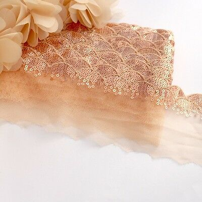 1 Meter of Bronze lace sequin trim for clothing and crafts