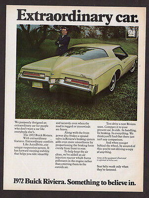 1972 BUICK Riviera Vintage Original Print AD - Yellow car photo extraordinary