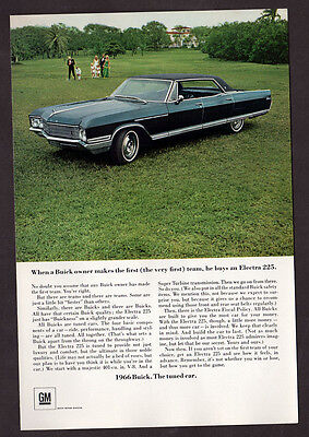 1966 BUICK Electra 225 Vintage Original Print AD - 4-door sedan blue car photo