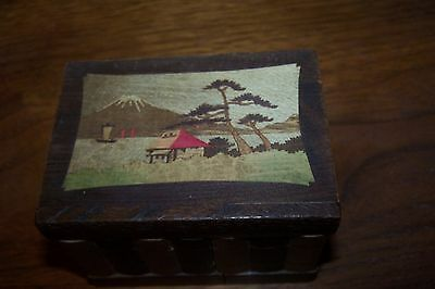 Vintage Wooden Japan Puzzle Box with Key and Love Letter Inside