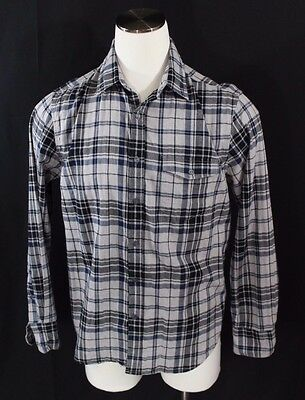 ba6faebab1c0 American Eagle Outfitters Black Plaid Long Sleeve Shirt Slim Fit Men's Size  L