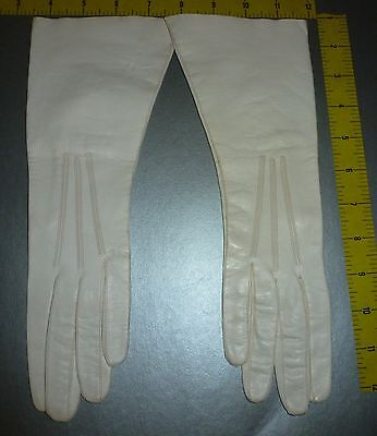 Vintage REAL KID Long Ivory Opera Gloves Made in ITALY Size 7.25 Leather