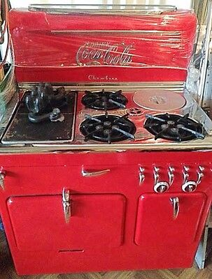 Antique 1950 CHAMBERS MODEL C GAS STOVE in Rare Freedom Red - Good Condition