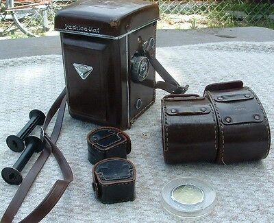 vintage yashica - mat camera copal mxv - with leather cases and extra lenses