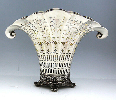 """Large TIFFANY Sterling FAN SHAPED PIERCED VASE with LINER 11 1/2"""""""