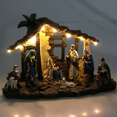 Childrens Christmas Nativity Scene in Stable Setting with 10 Ceramic Figurines
