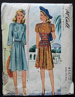 Vintage Original McCall 40's Afternoon Dress Pattern No. 4561