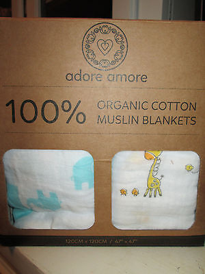 Adore Amore | 100% Organic Cotton Muslin Swaddle Blankets | Baby Shower Gift Set