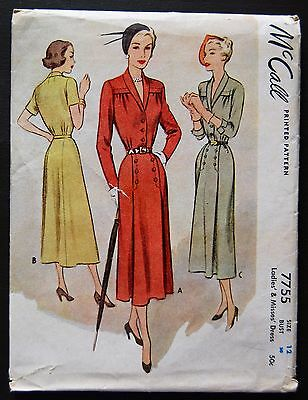 Vintage Original McCall 40's Dinner/Afternoon Dress Pattern No. 7755