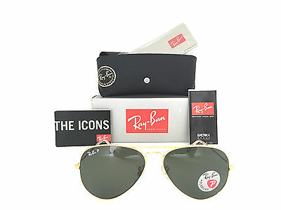 New Aviator Ray Ban RB3025 001/58 62mm Green polarized Lens Gold Frame