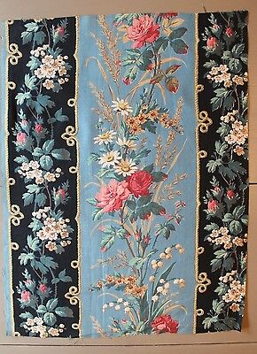 """Antique French(1860)Printed Roses&Country Flowers Cotton Fabric Sample L18""""xW13"""""""