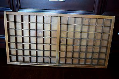 Vintage Antique Large  Heavy Wooden Typesetter's Tray Display Case Tray