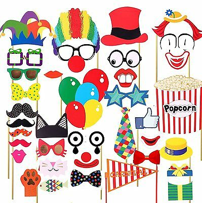 36pcs Wedding Party Props Photo Booth Funny Selfie Time Circus Clown Events D03