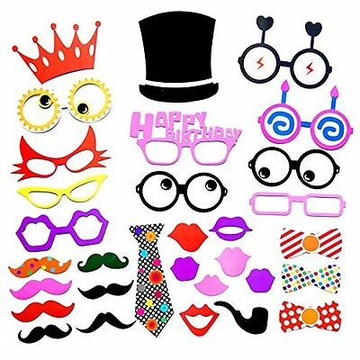 31pcs Party Props Photo Booth Hat Crown Glasses Wedding Birthday Party Kit F09