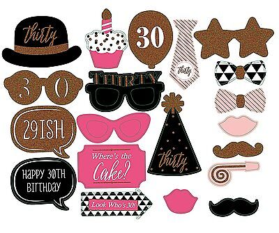 31pcs Party Props Photo Booth Thirty Special Funny Birthday Selfie Masks UK F10