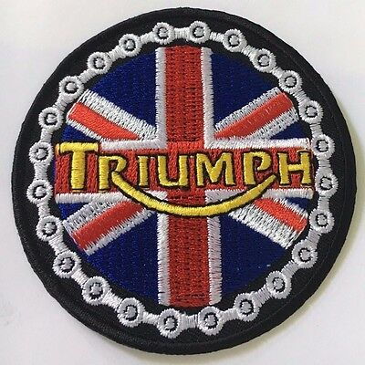 Embroidered  cloth patch ~ Triumph Union Jack.    B041002