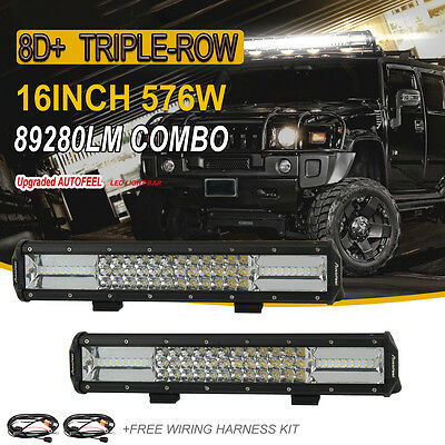 2X Tri-Row 576W 16Inch  Led Work Light Bar Combo For Offroad Jeep Ford Suv 4Wd