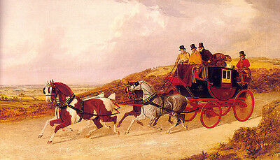 Hand painted Oil painting The Edinburgh and London Royal Mail horses carriages