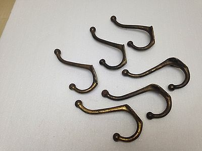 Vintage Brass Plated Set of 6 Coat Hat Wall Hook 4 1/4 Inch