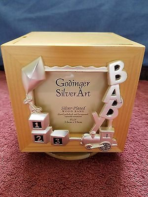 Silver-Plated Baby Cube Photo Holder Frame & Music Box