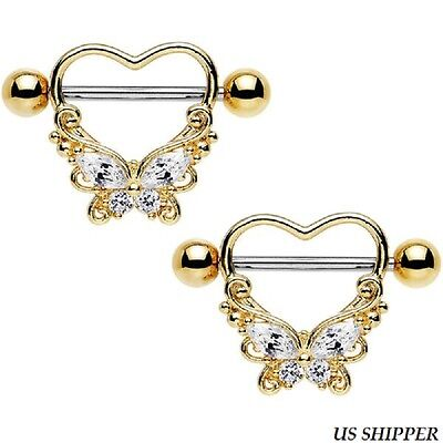 Women's Steel Hold My Heart Butterfly Simulated Diamond Nipple Shield (One Pair)