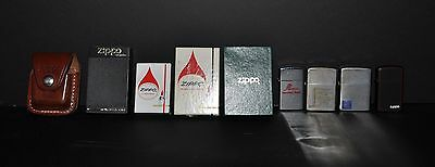 Lot of Vintage ZIPPO Lighters and Leather Case for Belt