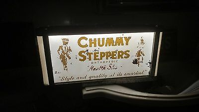 1930s-1940s Chummy Steppers RoG Reverse Glass Painted Lighted Shoe Store Sign