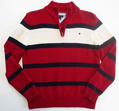 Tommy Hilfiger Boys Size Medium 12/14 Sweater 1/4 Zip Red White Blue